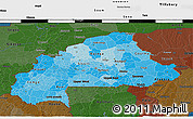 Political Shades 3D Map of Burkina Faso, darken
