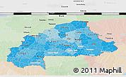 Political Shades 3D Map of Burkina Faso, lighten