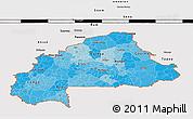Political Shades 3D Map of Burkina Faso, single color outside