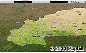 Satellite 3D Map of Burkina Faso, darken