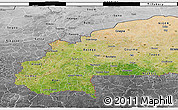 Satellite 3D Map of Burkina Faso, desaturated