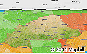 Satellite 3D Map of Burkina Faso, political shades outside, satellite sea
