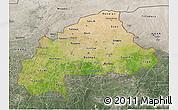 Satellite 3D Map of Burkina Faso, semi-desaturated