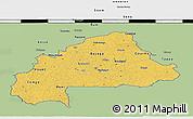 Savanna Style 3D Map of Burkina Faso, single color outside