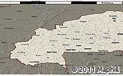 Shaded Relief 3D Map of Burkina Faso, darken