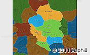 Political 3D Map of Bam, darken