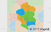 Political 3D Map of Bam, lighten