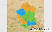 Political 3D Map of Bam, satellite outside