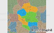 Political 3D Map of Bam, semi-desaturated
