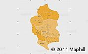 Political Shades Map of Bam, single color outside