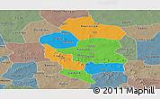 Political Panoramic Map of Bam, semi-desaturated