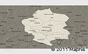Shaded Relief Panoramic Map of Bam, darken