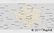 Shaded Relief Panoramic Map of Bam, desaturated
