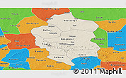 Shaded Relief Panoramic Map of Bam, political outside