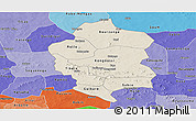 Shaded Relief Panoramic Map of Bam, political shades outside
