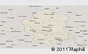 Shaded Relief Panoramic Map of Bam, semi-desaturated