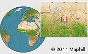 Satellite Location Map of Rollo, highlighted parent region