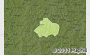 Physical Map of Kayao, darken