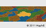 Political Panoramic Map of Kayao, darken