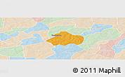 Political Panoramic Map of Kayao, lighten