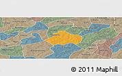 Political Panoramic Map of Kayao, semi-desaturated