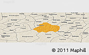 Political Panoramic Map of Kayao, shaded relief outside
