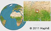 Satellite Location Map of Komsilga, highlighted parent region