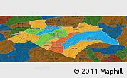 Political Panoramic Map of Bazega, darken