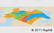 Political Panoramic Map of Bazega, lighten