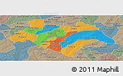 Political Panoramic Map of Bazega, semi-desaturated