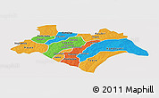 Political Panoramic Map of Bazega, single color outside
