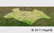 Satellite Panoramic Map of Bazega, darken