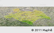 Satellite Panoramic Map of Bazega, semi-desaturated