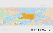 Political Panoramic Map of Koti, lighten