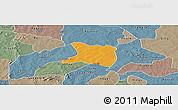 Political Panoramic Map of Koti, semi-desaturated