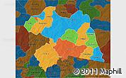 Political 3D Map of Boulgou, darken