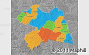 Political 3D Map of Boulgou, desaturated