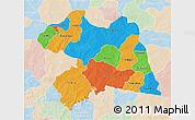 Political 3D Map of Boulgou, lighten
