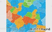 Political 3D Map of Boulgou, political shades outside