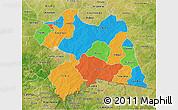Political 3D Map of Boulgou, satellite outside
