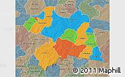 Political 3D Map of Boulgou, semi-desaturated