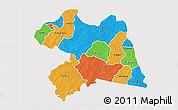 Political 3D Map of Boulgou, single color outside