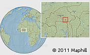 Savanna Style Location Map of Bane, hill shading