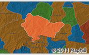 Political 3D Map of Bittou, darken
