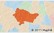Political 3D Map of Bittou, lighten