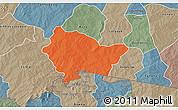 Political 3D Map of Bittou, semi-desaturated