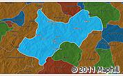 Political 3D Map of Tenkodogo, darken