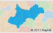 Political 3D Map of Tenkodogo, lighten