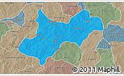 Political 3D Map of Tenkodogo, semi-desaturated