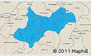 Political 3D Map of Tenkodogo, shaded relief outside
